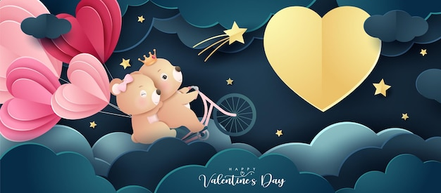 Simpatico orso doodle per san valentino in stile carta