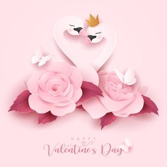 Simpatico orso doodle per san valentino in stile carta Vettore Premium