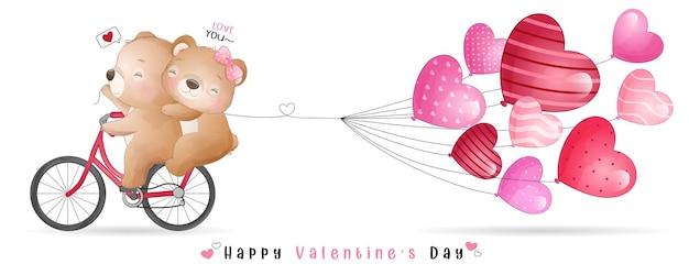 Simpatico orso doodle per la raccolta di san valentino