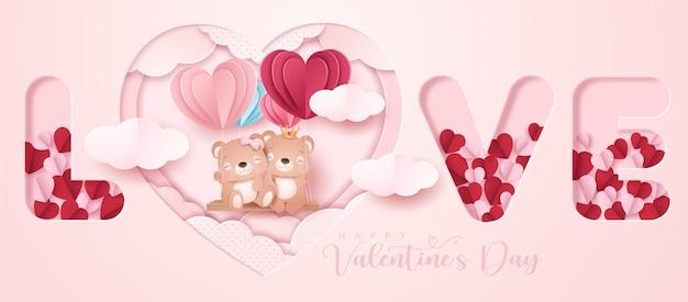 Orso carino doodle per san valentino in banner stile carta