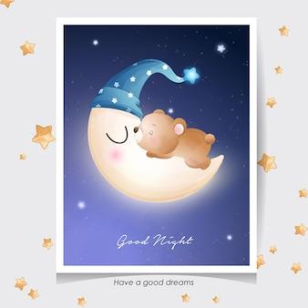 Orso sveglio di doodle con l'illustrazione dell'acquerello