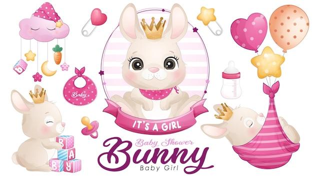 Baby shower simpatico coniglietto scarabocchio con set di illustrazioni ad acquerello