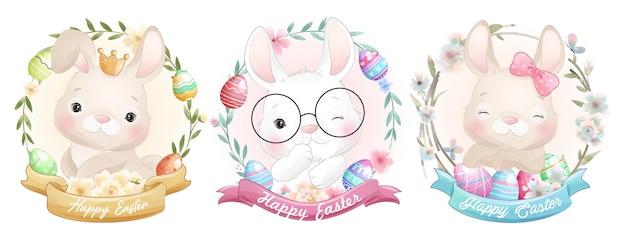 Coniglietto carino doodle per felice giorno di pasqua
