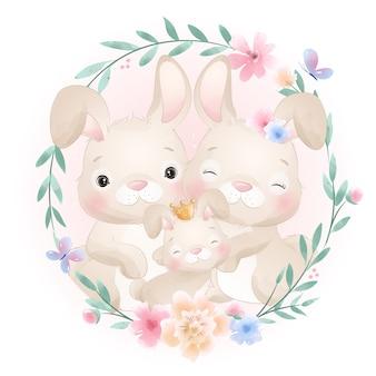 Coniglietto carino doodle con illustrazione floreale