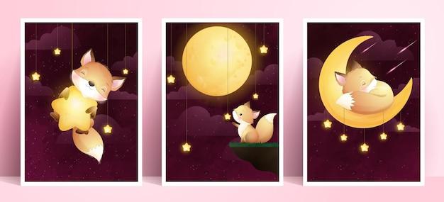 Simpatico coniglietto di doodle con collezione di frame