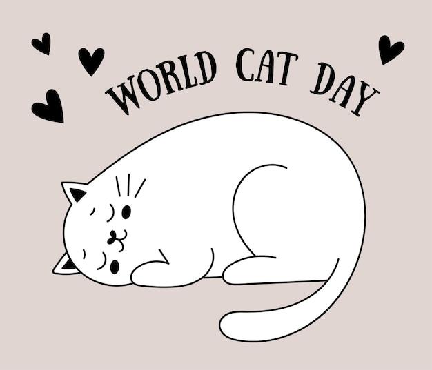 Simpatici gatti scarabocchiati cartolina per la giornata internazionale dei gatti gatto allegro in una scatola