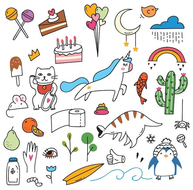 Collezione simpatico doodle