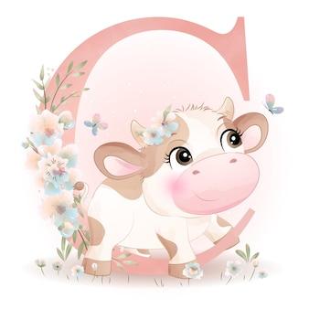 Baby shower carino mucca scarabocchio con illustrazione acquerello alfabeto