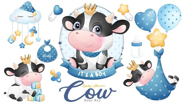 Baby shower carino mucca scarabocchio con illustrazione ad acquerello