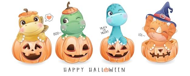 Dinosauro sveglio di scarabocchio per il giorno di halloween con l'illustrazione dell'acquerello