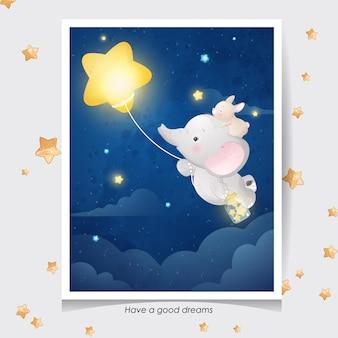 Elefante sveglio di doodle e coniglietto con illustrazione dell'acquerello