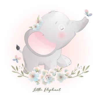 Elefante sveglio di doodle con illustrazione floreale