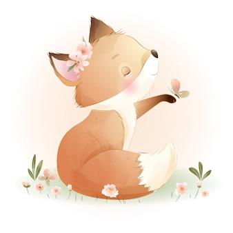 Foxy carino doodle con illustrazione floreale