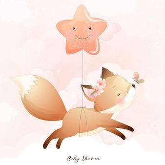Foxy carino doodle con illustrazione di stelle Vettore Premium