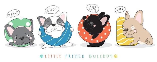 Illustrazione sveglia del bulldog francese di doodle