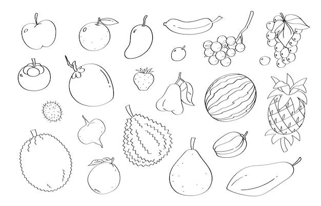 Simpatico cartone animato di frutta doodle e oggetti.