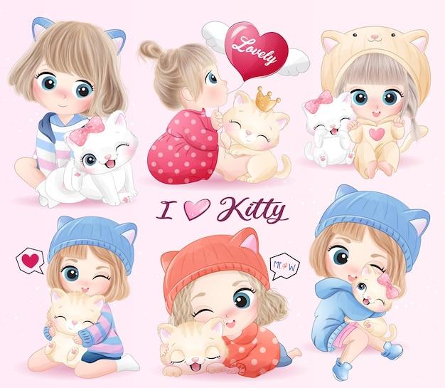 Ragazza carina doodle abbracciando gattino con illustrazione dell'acquerello
