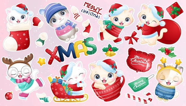 Gattino carino doodle per la raccolta di adesivi del giorno di natale