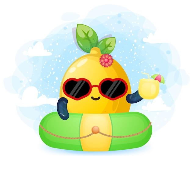 Carina ragazza di limone che tiene il succo di scarabocchio sul personaggio dei cartoni animati della boa di nuoto