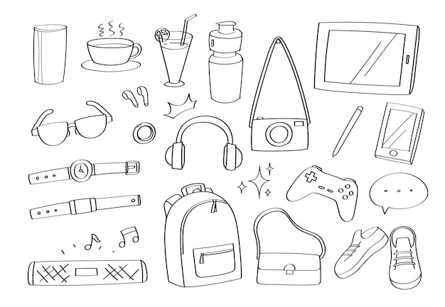 Icone ed oggetti svegli delle icone del fumetto degli accessori dei gadget di stile di vita di scarabocchio.
