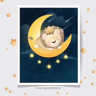 Leone carino doodle con illustrazione dell'acquerello