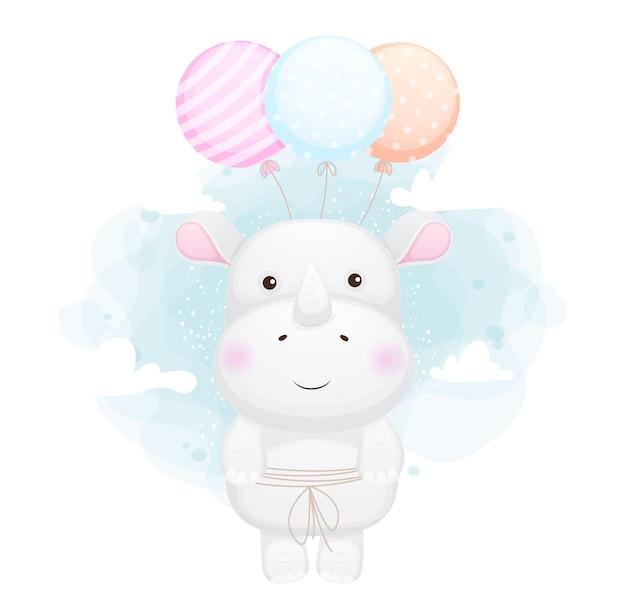 Carino doodle piccolo rinoceronte volando con palloncini cartoon