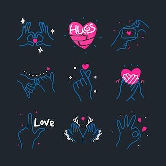 Cuore di amore sveglio di doodle fatto con l'illustrazione disegnata a mano degli elementi del segno di gesto delle mani
