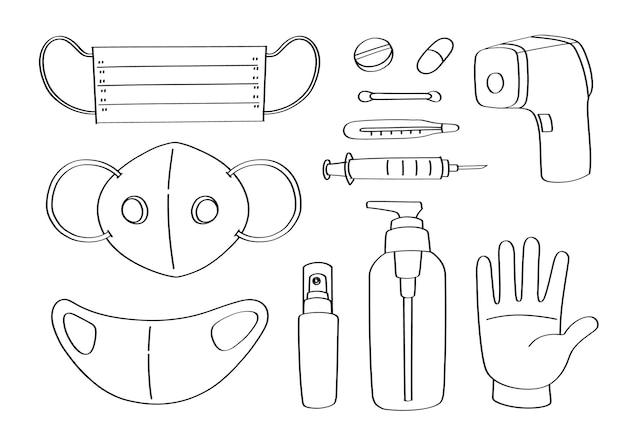 Simpatico cartone animato oggetto medico doodle e oggetti. covid-19, protezione dal coronavirus.