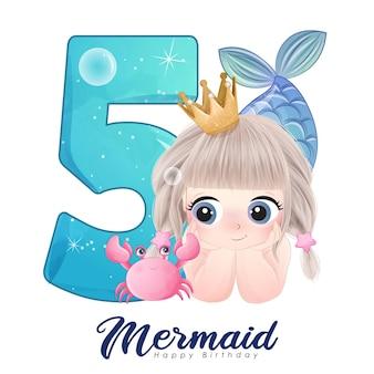 Carina sirena scarabocchio con numero per la festa di compleanno