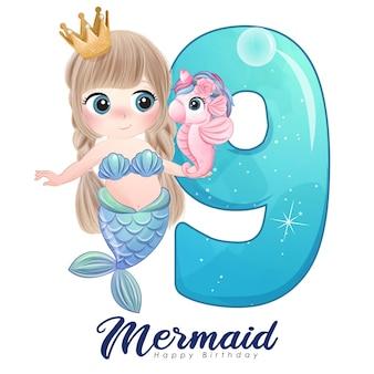 Carina sirena scarabocchio con numero per la festa di compleanno Vettore Premium