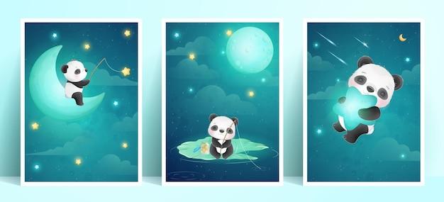 Panda di doodle carino con collezione di frame