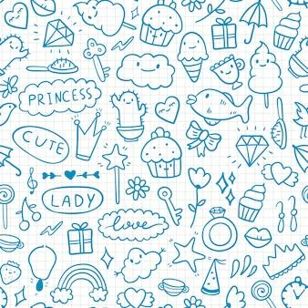 Modello carino doodle su carta in una gabbia con elementi girly