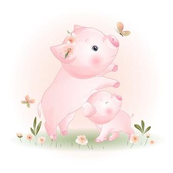 Porcellino carino doodle con illustrazione floreale