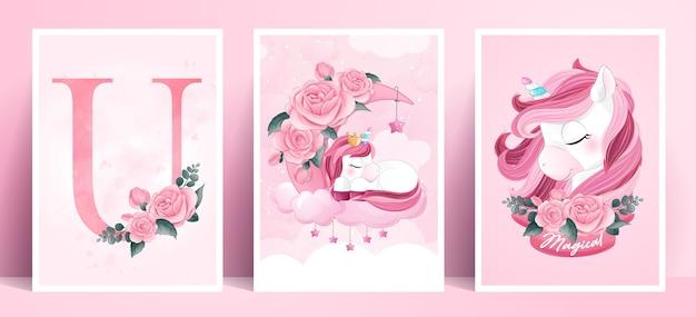 Unicorno di poster carino doodle impostato nello stile dell'acquerello