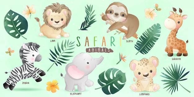 Simpatici animali safari doodle con collezione floreale