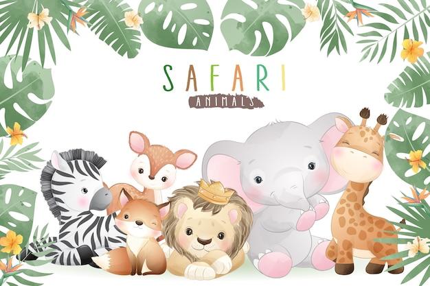 Animali di safari di doodle carino con illustrazione floreale