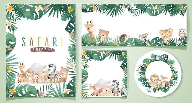 Animali di safari di doodle carino con illustrazione set floreale
