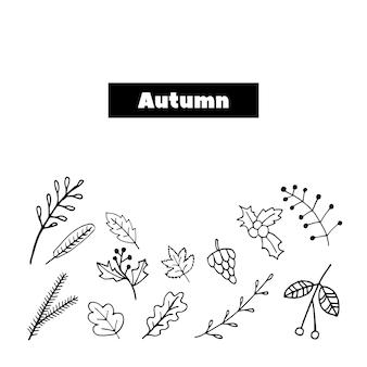 Carino doodle set di holly rowan foglie rami abete icone illustrazione vettoriale disegnato a mano