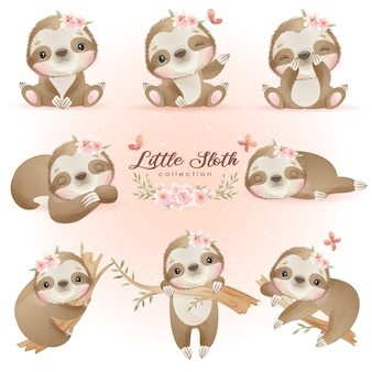 Pose di bradipo carino doodle con collezione floreale
