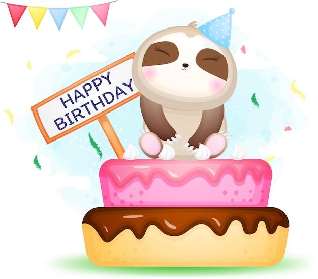 Il bradipo sveglio di doodle si siede sul personaggio dei cartoni animati di torta di compleanno