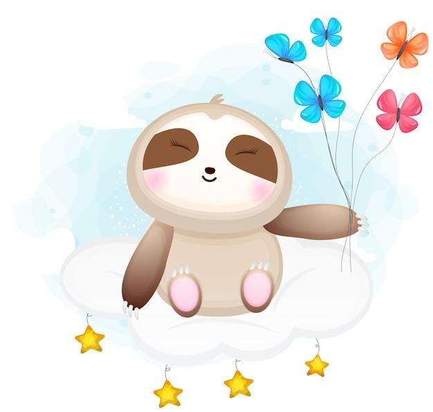 Il bradipo sveglio di doodle si siede sul personaggio dei cartoni animati di nuvole