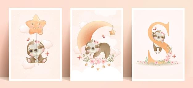 Bradipo carino doodle con collezione floreale