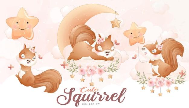 Simpatico scoiattolo scarabocchio con set floreale con illustrazione ad acquerello