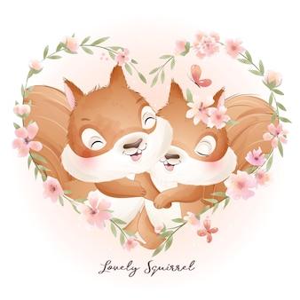 Simpatico scoiattolo scarabocchio con illustrazione floreale ad acquerello