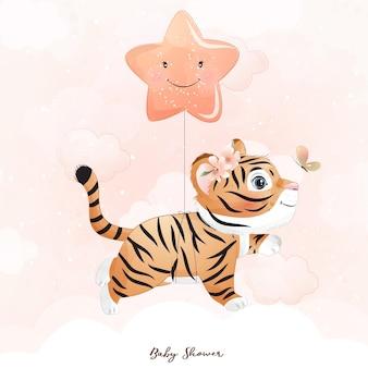 Tigre carina con illustrazione ad acquerello