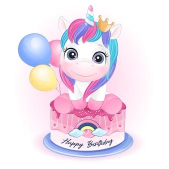 Unicorno carino doodle per il compleanno in stile acquerello