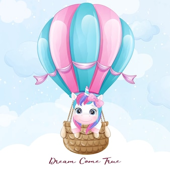 Unicorno sveglio di doodle che vola con l'illustrazione dell'aerostato di aria