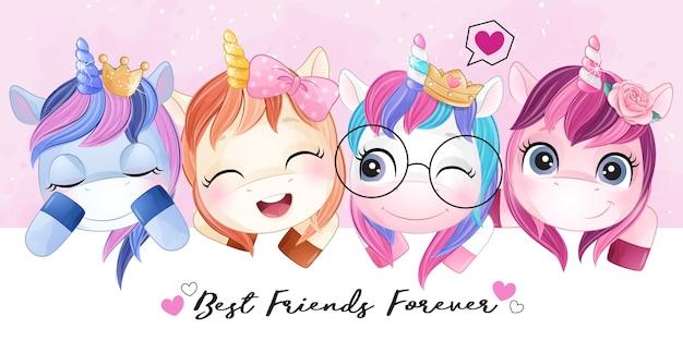 Amici di unicorno carino doodle con illustrazione dell'acquerello