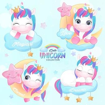 Unicorno sveglio di doodle impostato nello stile dell'acquerello
