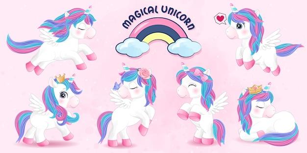 Unicorno carino doodle impostato con illustrazione dell'acquerello
